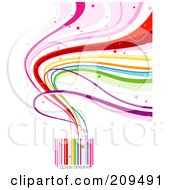 Royalty Free RF Clipart Illustration Of Rainbow Waves Flowing From A Colorful Bar Code