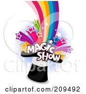 Royalty Free RF Clipart Illustration Of Magic Show Text And Stars Shooting Out Of A Magic Hat On A Blue And White Background
