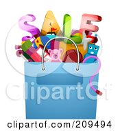 Royalty Free RF Clipart Illustration Of A Bag Of Toys And Sale Text by BNP Design Studio