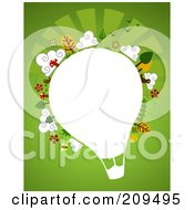 White Hot Air Balloon With Plants Birds Butterflies And Trees Over Green