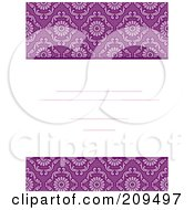 Royalty Free RF Clipart Illustration Of A Purple Damask Invitation Design by BNP Design Studio