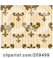 Royalty Free RF Clipart Illustration Of A Seamless Brown And Beige Damask And Stripe Pattern Background