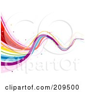Royalty Free RF Clipart Illustration Of A Bouncy Rainbow Wave Over White