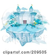 Floating Island With An Icy Castle And Clouds