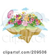 Royalty Free RF Clipart Illustration Of A Butterfly And Spring Flowers On A Floating Island With Clouds by BNP Design Studio