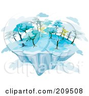 Royalty Free RF Clipart Illustration Of A Floating Island With Winter Trees And Clouds by BNP Design Studio