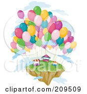 Royalty Free RF Clipart Illustration Of A Floating Island With Balloons And Vendor Stands