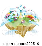 Floating Island With Theme Park Rides Booths And Clouds