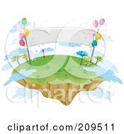 Royalty Free RF Clipart Illustration Of A Floating Island With Balloons A Banner And Clouds