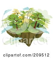Royalty Free RF Clipart Illustration Of A Floating Island With Green Trees And Clouds