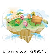Floating Island With Easter Eggs A Sign And Clouds