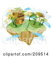 Royalty Free RF Clipart Illustration Of A Floating Island With A Cottage And Clouds by BNP Design Studio