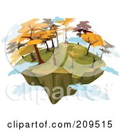 Royalty Free RF Clipart Illustration Of A Floating Island With Autumn Trees And Clouds by BNP Design Studio