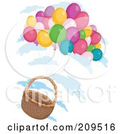 Royalty Free RF Clipart Illustration Of A Bunch Of Balloons Floating With An Empty Basket