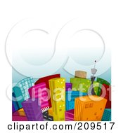 Royalty Free RF Clipart Illustration Of A City Of Colorful Buildings Under A Gradient White To Blue Sky