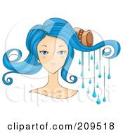 Royalty Free RF Clipart Illustration Of A Beautiful Scorpio Womans Face With Water Dripping From Her Hair