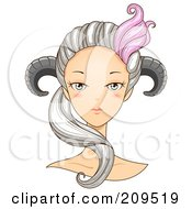 Royalty Free RF Clipart Illustration Of A Beautiful Aries Womans Face With Horns On Her Head