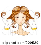 Royalty Free RF Clipart Illustration Of A Beautiful Libra Womans Face With Scales Hanging From Her Hair by BNP Design Studio