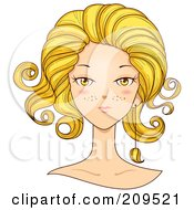 Royalty Free RF Clipart Illustration Of A Beautiful Leo Womans Face