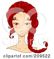 Royalty Free RF Clipart Illustration Of A Beautiful Scorpio Womans Face With Her Hair Curling Like A Scorpions Tail
