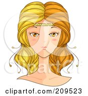 Royalty Free RF Clipart Illustration Of A Beautiful Gemini Womans Face by BNP Design Studio