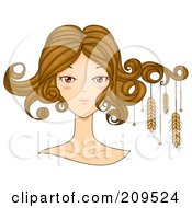 Royalty Free RF Clipart Illustration Of A Beautiful Virgo Womans Face With Wheat Hanging From Her Hair by BNP Design Studio
