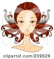 Royalty Free RF Clipart Illustration Of A Beautiful Taurus Womans Face With Horns On Her Head by BNP Design Studio