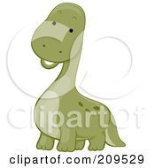 Poster, Art Print Of Cute Brontosaurus Dinosaur Smiling