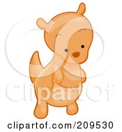 Royalty Free RF Clipart Illustration Of A Cute Kangaroo Looking Down by BNP Design Studio