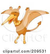 Royalty Free RF Clipart Illustration Of A Cute Pterodactyl Flapping Its Wings