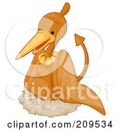 Royalty Free RF Clipart Illustration Of A Cute Pterodactyl Nesting