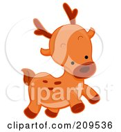 Royalty Free RF Clipart Illustration Of A Cute Running Deer by BNP Design Studio