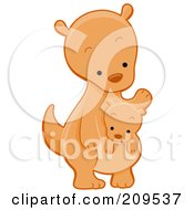Royalty Free RF Clipart Illustration Of A Cute Kangaroo Looking Down At A Joey
