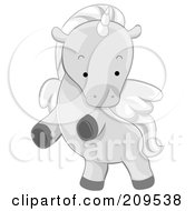 Royalty Free RF Clipart Illustration Of A Cute Winged Unicorn Rearing