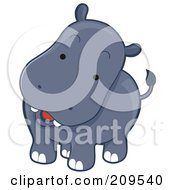 Royalty Free RF Clipart Illustration Of A Cute Curious Hippo Tilting His Head by BNP Design Studio