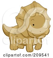 Royalty Free RF Clipart Illustration Of A Cute Triceratops Walking by BNP Design Studio