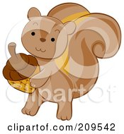 Royalty Free RF Clipart Illustration Of A Cute Squirrel Carrying An Acorn by BNP Design Studio