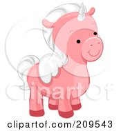 Royalty Free RF Clipart Illustration Of A Cute Pink Winged Unicorn Facing Right by BNP Design Studio