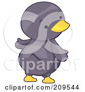 Royalty Free RF Clipart Illustration Of A Cute Penguin Looking Over His Shoulder by BNP Design Studio