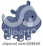 Royalty Free RF Clipart Illustration Of A Cute Curious Rhino by BNP Design Studio