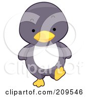 Royalty Free RF Clipart Illustration Of A Cute Baby Penguin Walking Forward by BNP Design Studio