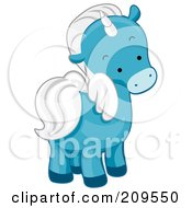 Royalty Free RF Clipart Illustration Of A Cute Blue Unicorn Looking Back by BNP Design Studio