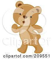 Royalty Free RF Clipart Illustration Of A Cute Bear Cub Walking Upright by BNP Design Studio