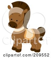 Royalty Free RF Clipart Illustration Of A Cute Brown Horse by BNP Design Studio