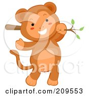 Royalty Free RF Clipart Illustration Of A Cute Baby Monkey Hanging From A Branch by BNP Design Studio