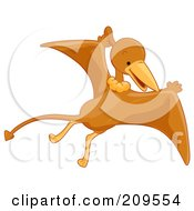 Royalty Free RF Clipart Illustration Of A Cute Pterodactyl Flying