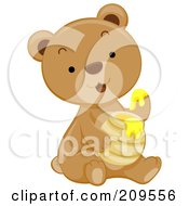 Royalty Free RF Clipart Illustration Of A Cute Bear Cub Dipping His Paw In Honey by BNP Design Studio