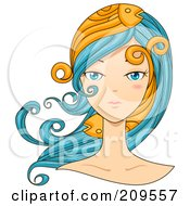 Royalty Free RF Clipart Illustration Of A Beautiful Pisces Womans Face With Fish In Her Hair