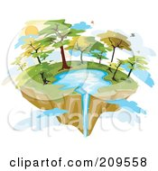 Floating Island With A Lake And Waterfall