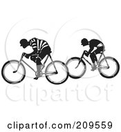 Royalty Free RF Clipart Illustration Of Two Retro Black And White Men Riding Bicycles by BestVector